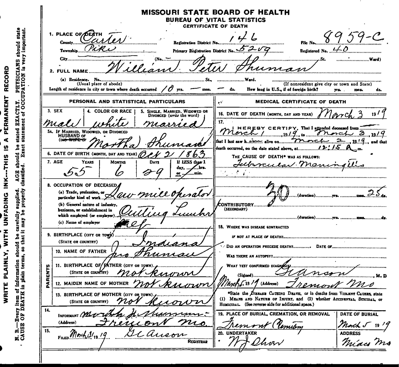 Midco death certificates shuman william peter xflitez Choice Image