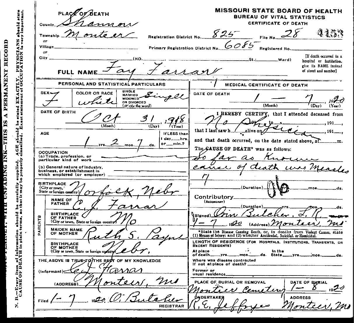 1920 shannon county death certificates farrar fay 1betcityfo Choice Image