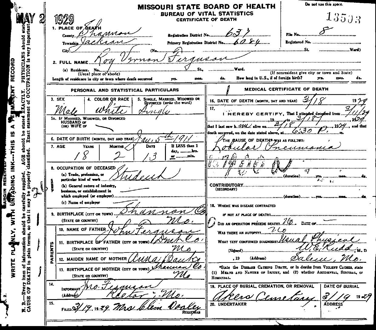 1929 death certificates index ferguson roy vernon aiddatafo Choice Image