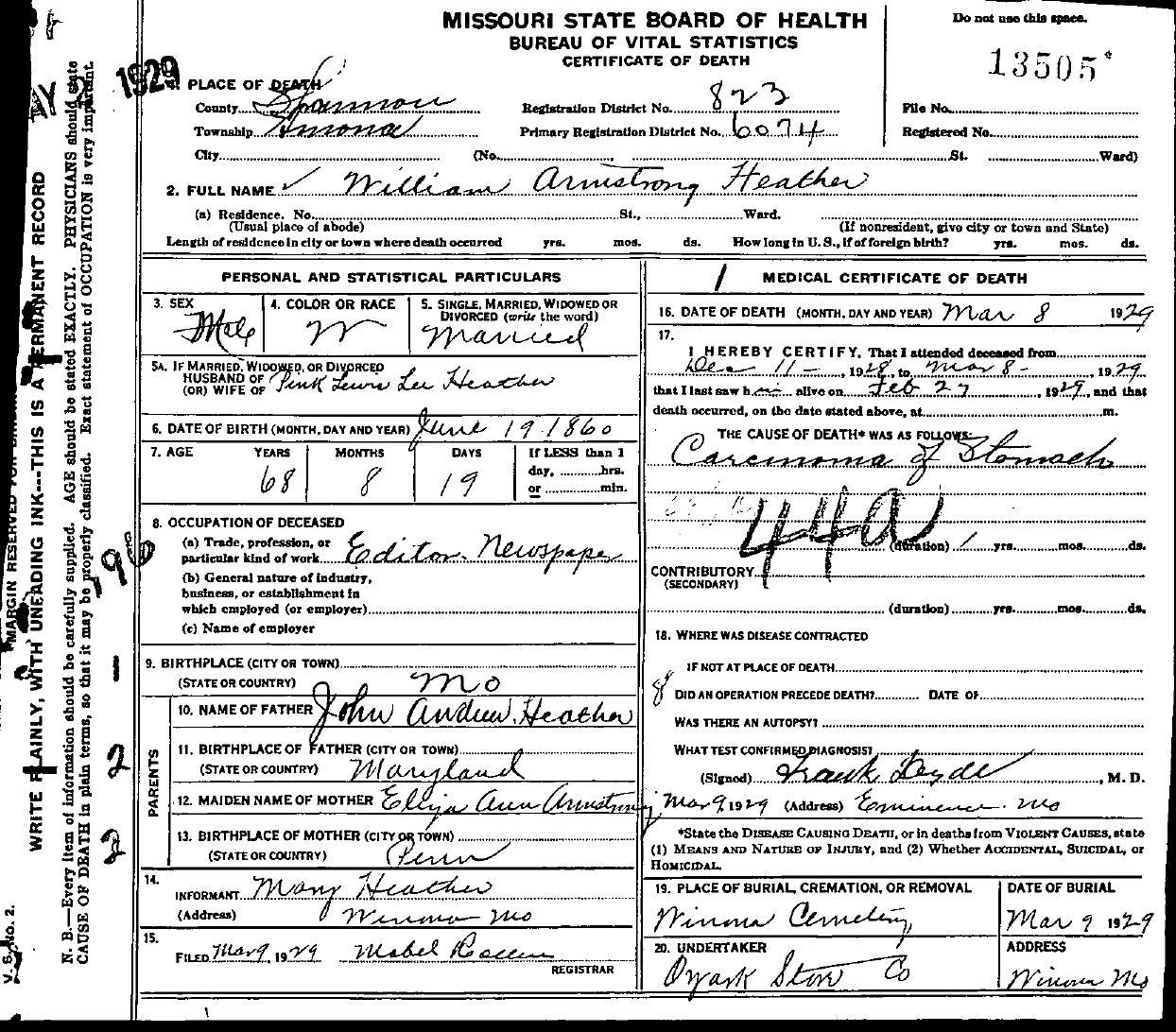 1929 death certificates index bridgforth robert lee heather william armstrong aiddatafo Choice Image