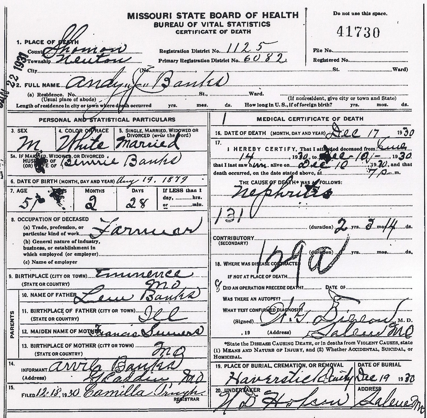 1930 shannon county death certif banks 1betcityfo Image collections