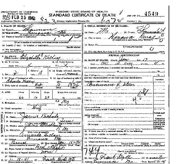 Ward bond death certificate