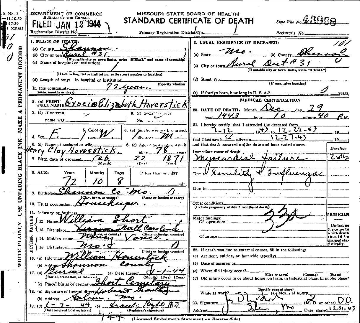 1943 Death Certificates Index