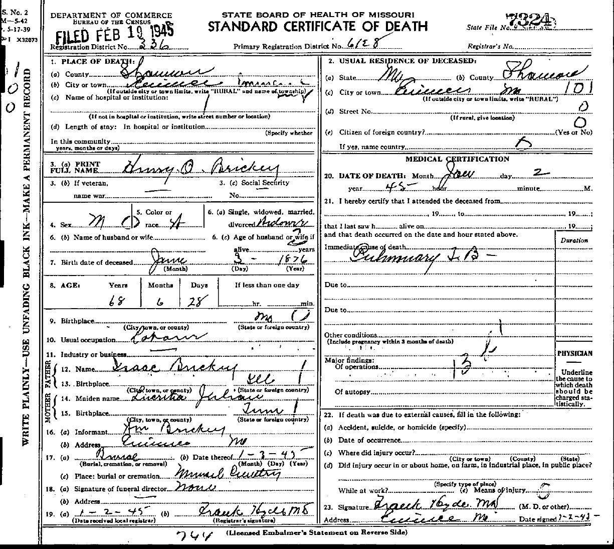 1945 Death Certificates Index