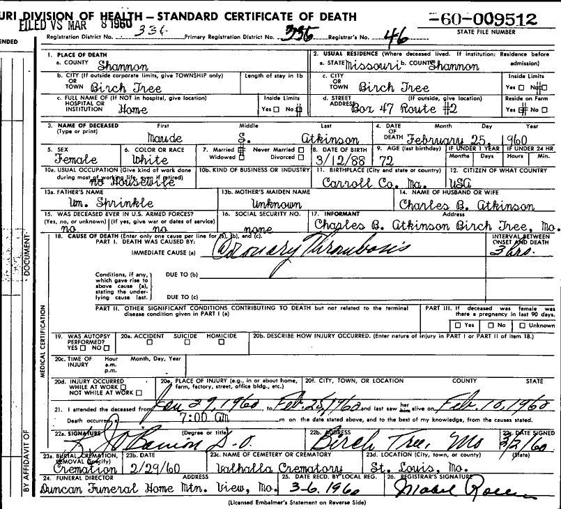1960 Death Certificates Index