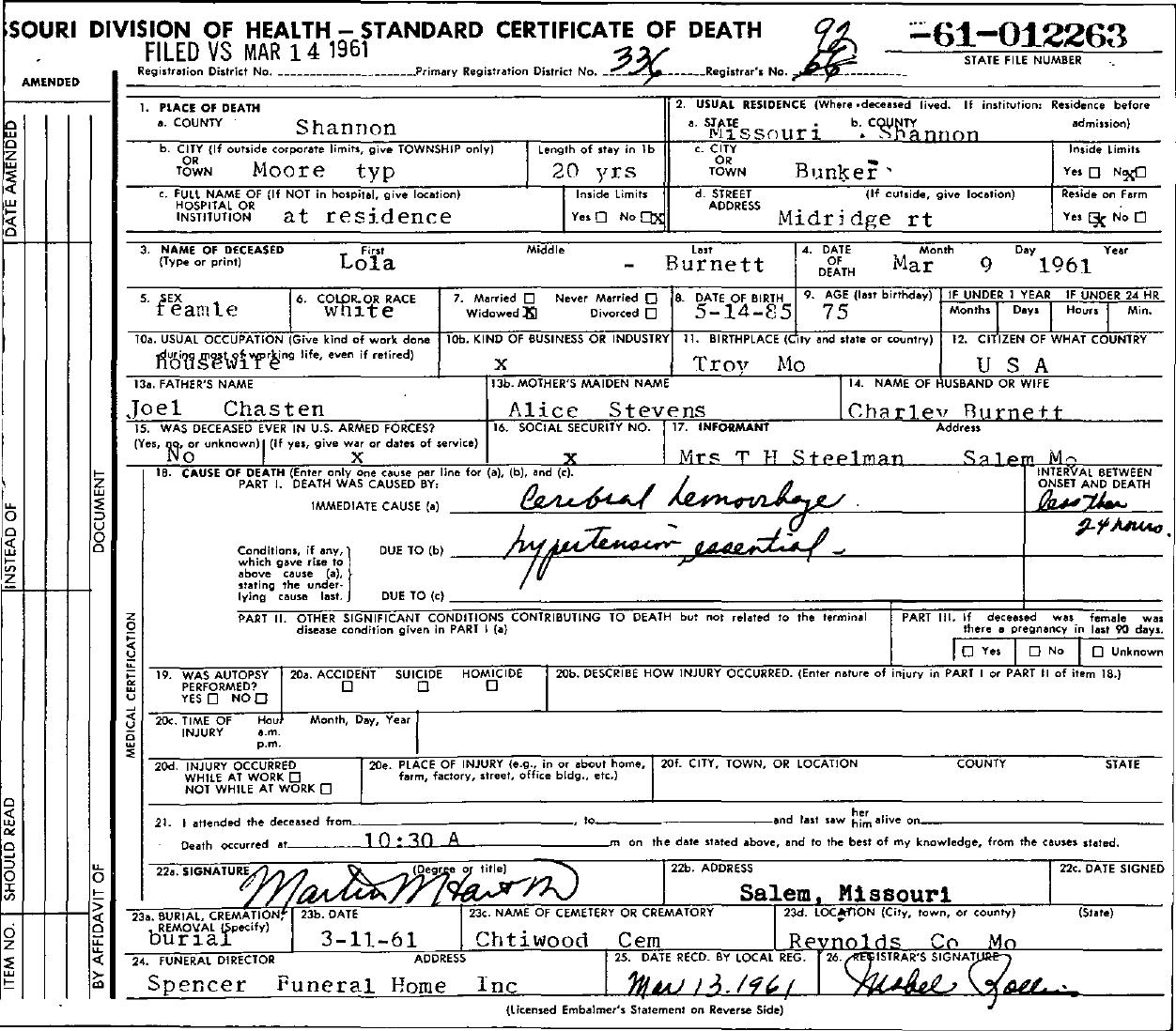 1961 Death Certificates Index